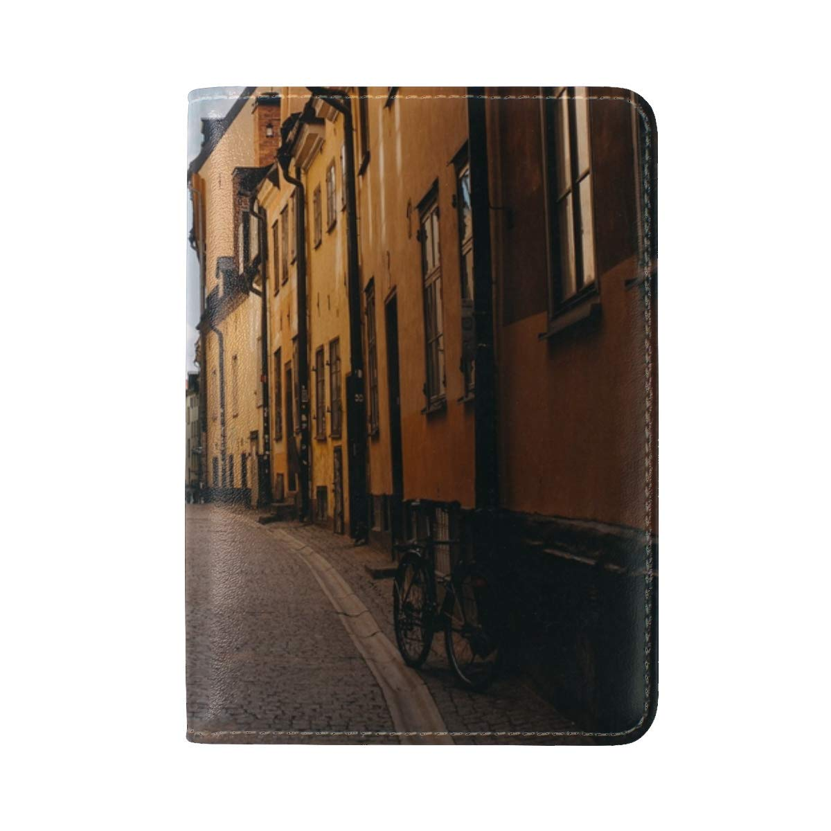 Street Buildings City Leather Passport Holder Cover Case Travel One Pocket