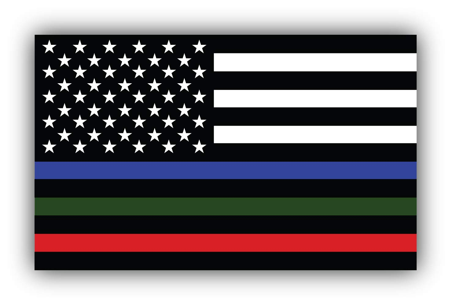 Zirni Thin Line Blue Green and Red Reflective Stripe American Flag Support Police Military and Fire Officers Vinyl Sticker Bumper Art Decal