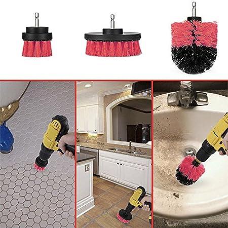 ROKOO 3 Pcs//Set Forage Brosse Kit Nettoyant pour Baignoire Laveur Outil de Nettoyage Brosses pour Carrelage Grout Car Bateau RV