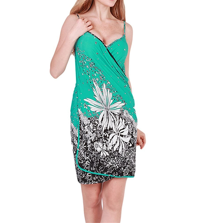 EJY Damen Ärmellos Minikleid Strandkleid mit floralem Print Wickelrock  online kaufen