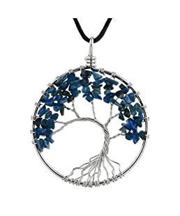 AUWU Women Natural Crystal Stone Lucky Life Tree Pendant Necklace Ladies Multicolor Wisdom Tree Leather Chain