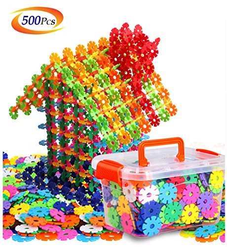 Building Block Toys of 500 Pieces, Gear Flakes Connect Interlocking Plastic Disc, A Creative and Educational Construction Toy Bricks - Best Gift for Boys and Girls -
