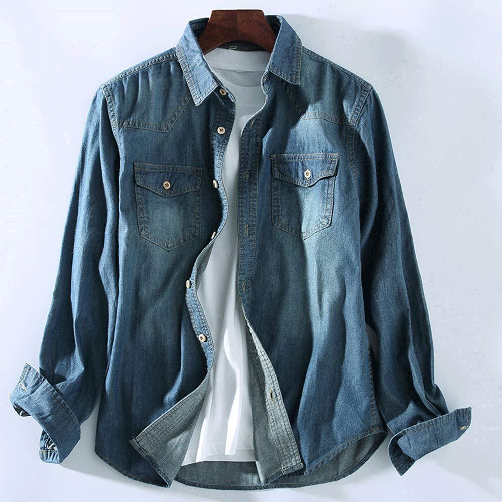 HIENAJ Mens Standard Fit Long Sleeve Denim Shirt Two Pocket Button Down Workshirt