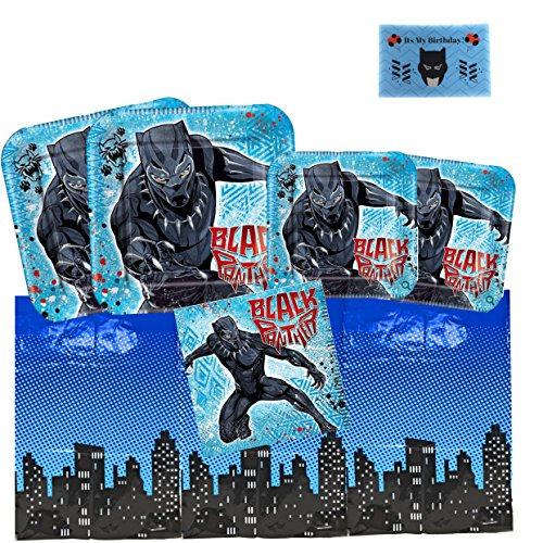 Black Panther Party Supplies Pack for 16, Lunch Plates, Dessert Plates, Napkins, Superhero Table Cover and A Birthday Sticker by JPMD