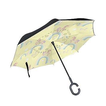 TIZORAX Paraguas Reversible de Doble Capa con Mango en Forma de C para la Lluvia y