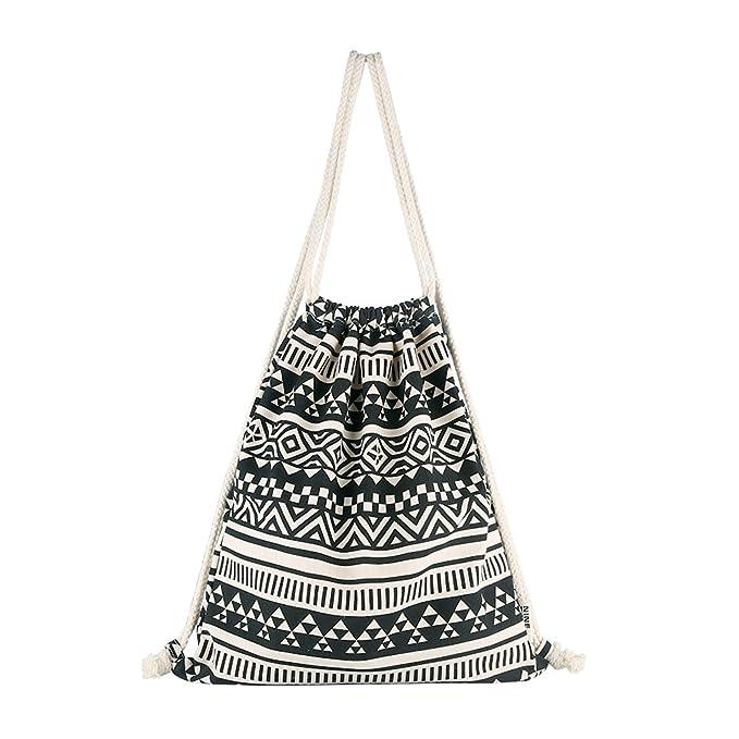 Amazon Farway Drawstring Bag Canvas Knit Ethnic Bohemia