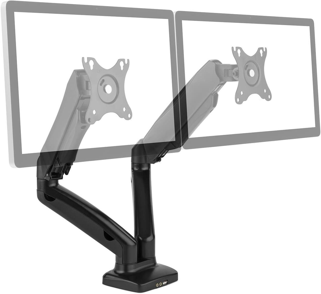 auna LDT13-C024USB Soporte de mesa para doble monitor (brazos ...