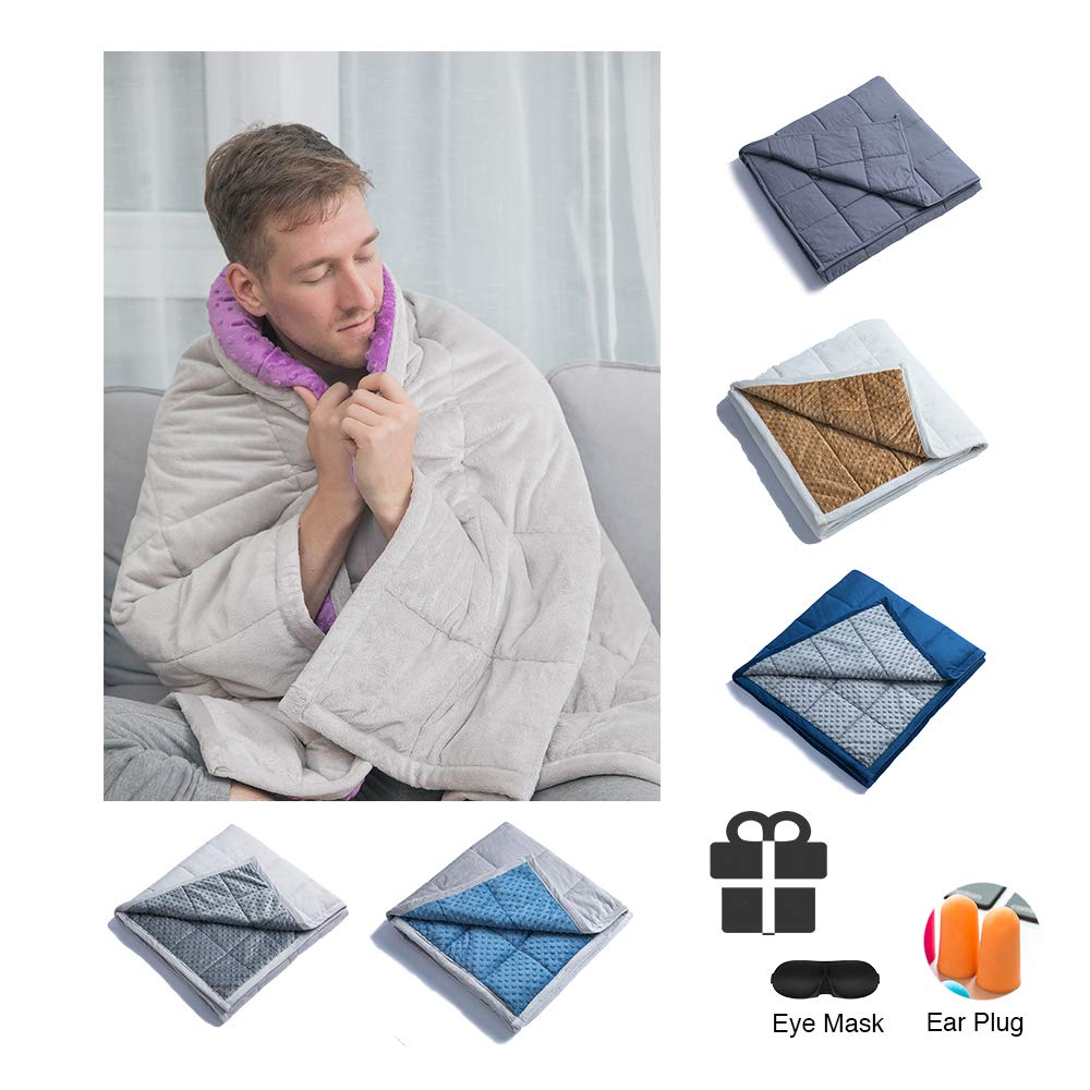 """Daverose Calming Weighted Blanket for Adults 15lbs 48/""""X78/"""" 130-160lbs Adults Full Size Plush Minky One Piece Design Children Comfort Sensory Heavy Blanket Violet Minky Dot//Light Grey"""