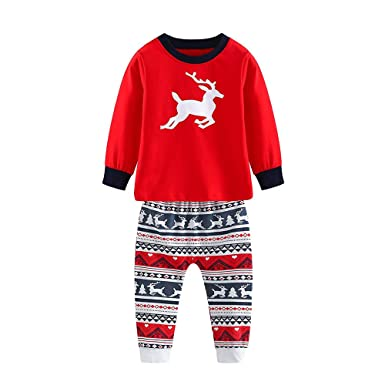 Matching Family Pajamas Set Christmas Deer Print T Shirt Pants Sleepwear  Cotton Kids PJs (Red 4e96bfb98