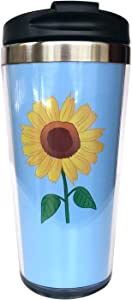 NVJUI JUFOPL Sunflower Travel Tumbler Coffee Mug for Men's & Women's 15 oz, With Flip Lid, Stainless Steel, Vacuum Insulated, Water Bottle Cup