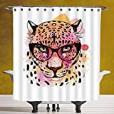 Funky Shower Curtain 3.0 [Fashion House Decor,Watercolor Portrait of Leopard with Glasses Splashing Paint Style,Orange Pink] Machine Washable,Shower Hooks are Included