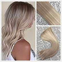 Moresoo 22 inch Tape in Remy Extensions Ash Brown to Bleach Blonde Highlighted with Ash Brown Tape on Hair Extensions 100% Real Huaman Hair 20pcs/50g