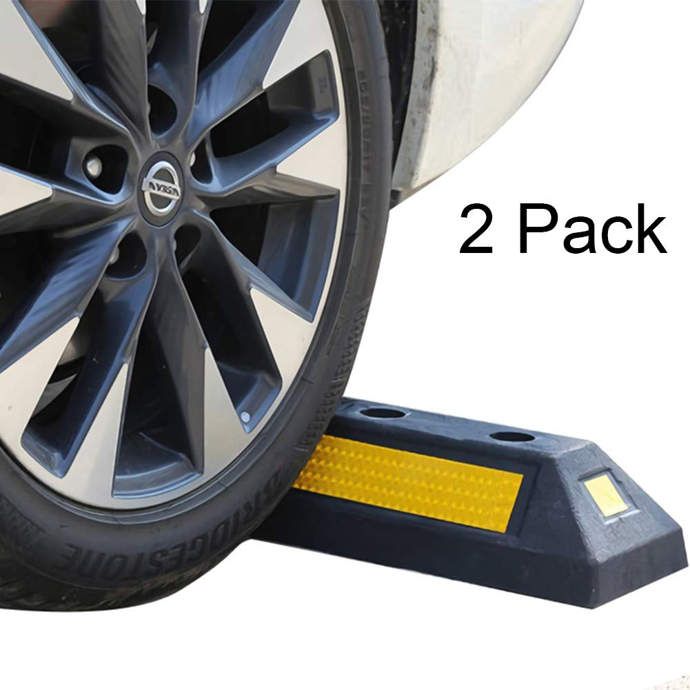 B BAIJIAWEI 2 Pack Heavy Duty Rubber Parking Guide Garage Wheel Stop with Yellow Reflective Stripes, Professional Grade Rubber Parking Target