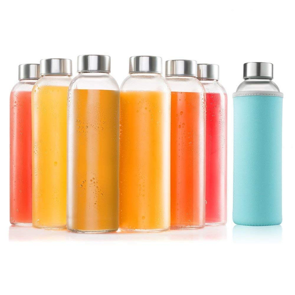 Glass Bottles 6 Pack 18oz - Includes 6 Sleeves - Glass Drinking Bottles for Beverage and Juice - Water Bottle Glass with Stainless Steel Caps with - Leak-Proof Lid Sagler