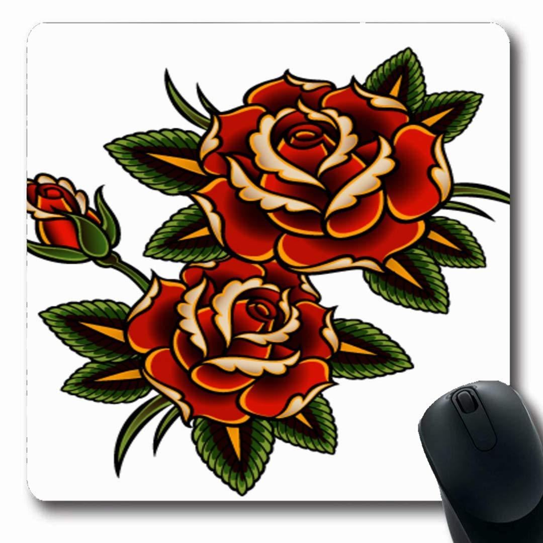 Luancrop Alfombrillas Verano Flor Roja Tatuaje Rosas Vine Rosa ...