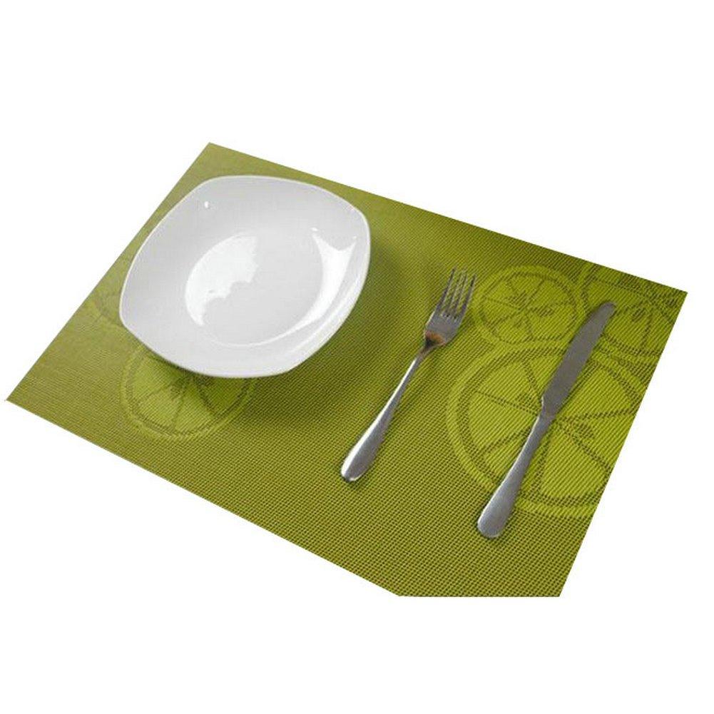 AYYgift Durable PVC Dining Room Exqiusite Placemats Heat Insulation Anti-skid Lemon Table Mat Printing Design Eat Mat (#F3045-LemonGreen)