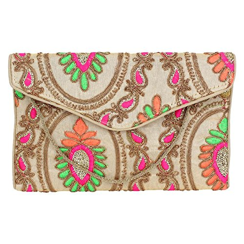 (Brazeal Studio Women's Embroidered Fabric Ethnic Clutch Beige)