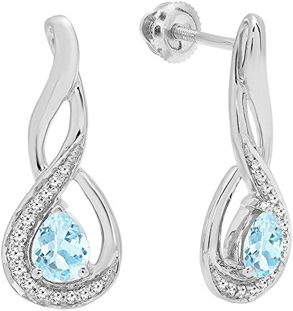 18K blanco oro 5x 4mm cada pera Gemstone y infinito de diamante redondo pendientes de gota