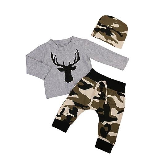 c2680071f6d1 Amazon.com  Cute 3pcs Set Newborn Baby Boys Long Sleeve Deer Tops ...