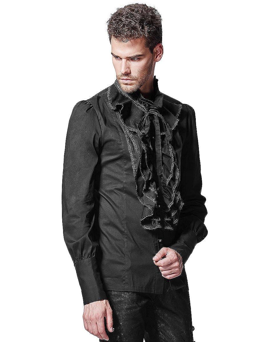 Punk Rave Mens Shirt Top Black Gothic Steampunk VTG Regency Aristocrat Victorian