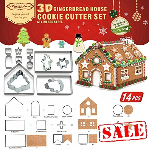 14 PCS - 3D Chocolate House Cookie Cutter Set (Stainless Steel) | Gingerbread House Cutouts Cutters Kit | Haunted House LFGB and FDA Approved, Colorful Box Packaging | Clearance Sales Items ()