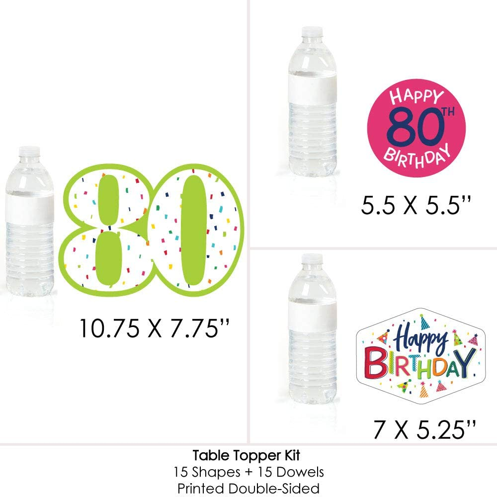 80th Birthday Table Toppers Set of 15 Cheerful Happy Birthday Colorful Eightieth Birthday Party Centerpiece Sticks