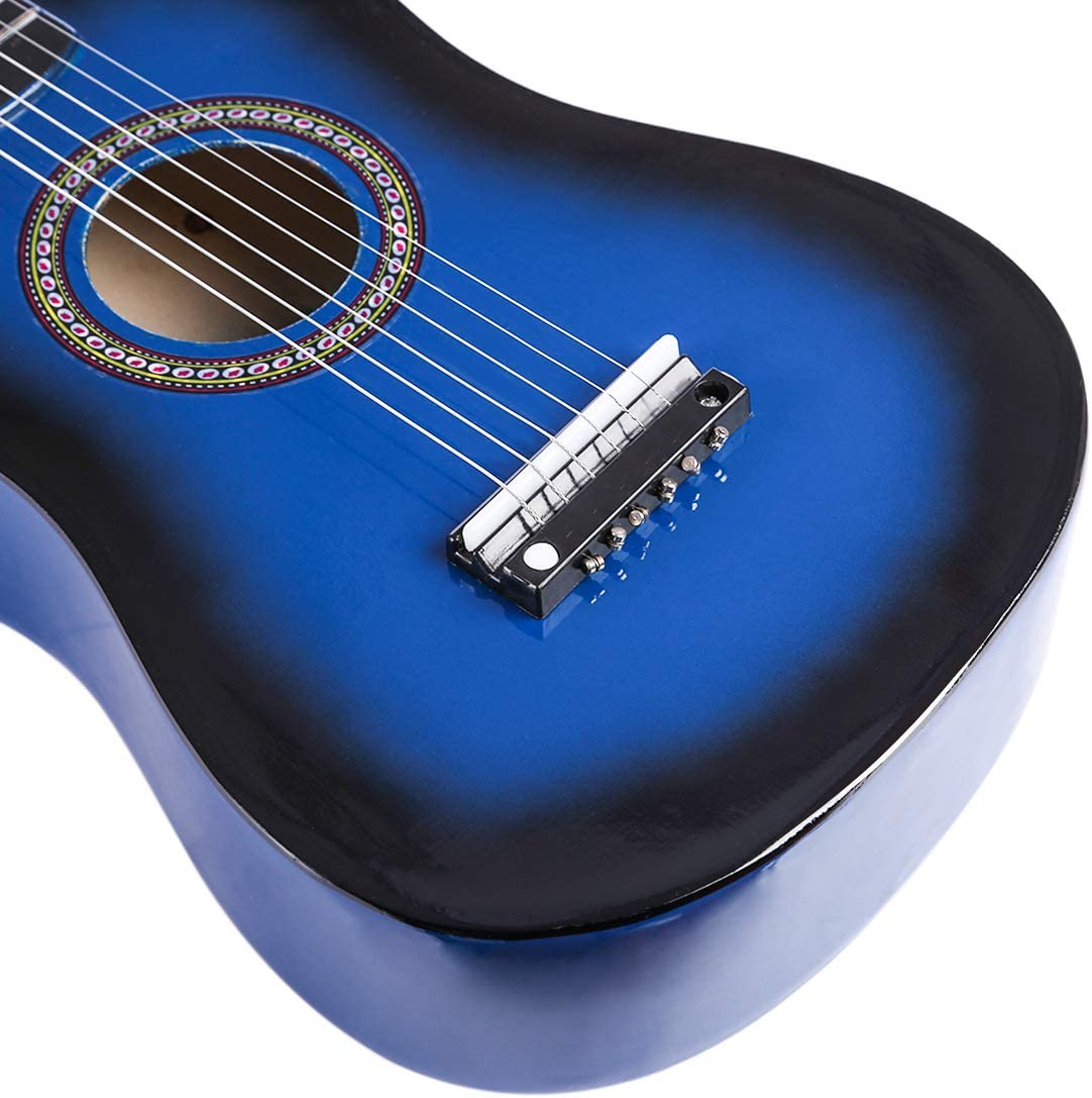 Bleu 59x20x6CM Lommer 23 Bois Enfant Guitare Mini 6 Cordes Guitare Jouets Musicaux Enfants Garcon Fille 3-7 Ans
