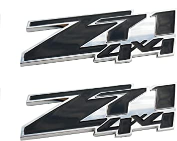 Black 2 Pcs Z71 4x4 Emblems Compatible for GMC Chevy Silverado Sierra Tahoe Suburban 1500hd 2500hd 3500hd Decal