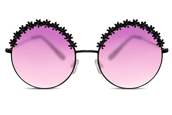 d26e02df291ab7 Cheapass Lunettes de soleil Rondes Noires Oversize Lunettes violettes  degradés XXL Translucides Puissance de fleur Accessoire
