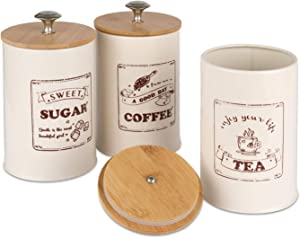 PILITO Set of 3 Airtight Kitchen Canister Metal Food Storage Tin With Bamboo Lid for Sugar Tea Coffee Beige