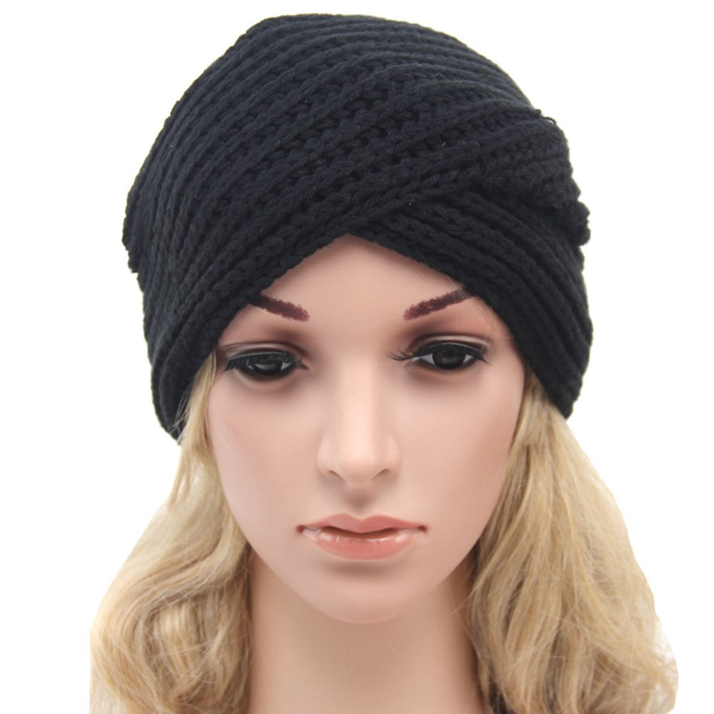 Gemvie Women Winter Warm Cross Wrap Chunky Knit Beanie Hat Skull Cap Beige at Amazon Womens Clothing store: