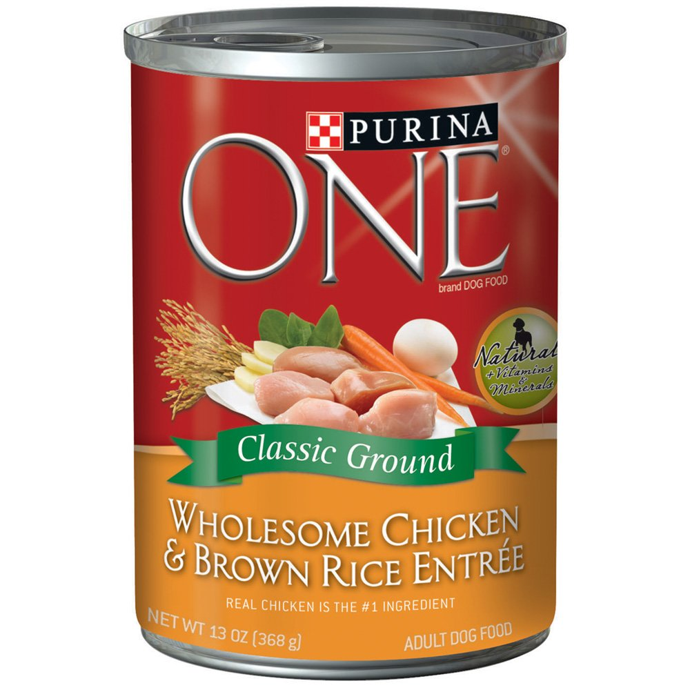 Purina ONE Wet Dog Food, Wholesome Chicken and Brown Rice Entrée, 13 Oz Can