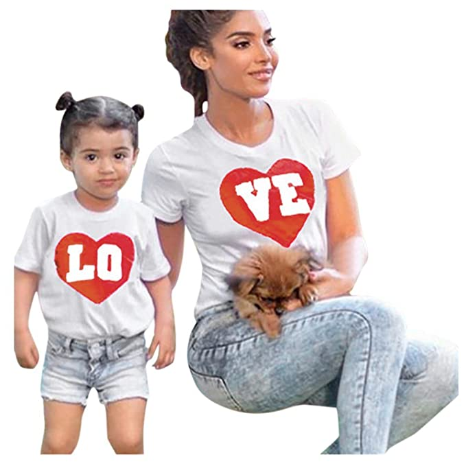 QinMM Camiseta de Manga Corta Para Mamá y Bebé, Tops Camisas de Manga Corta Para