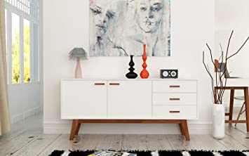 Stylish Sideboard Chest Of Drawers In White With Wooden Legs Amazon