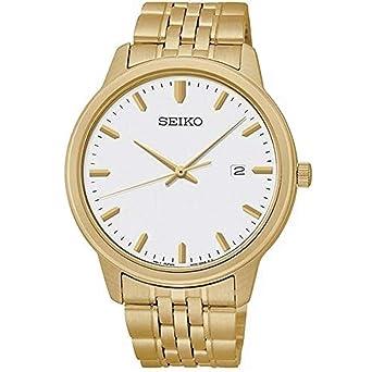 reputable site 53b95 e31da Seiko Quartz White Dial Gold-Tone Men's Watch SUR096