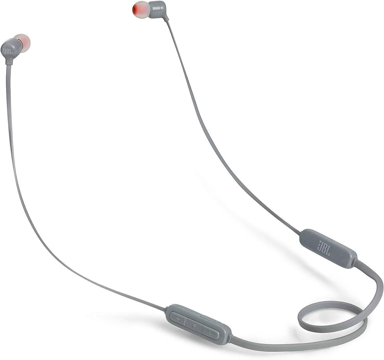 JBL T110BT – Auriculares inalámbricos intraurales con Pure Bass, Bluetooth con mando a distancia y micrófono, Batería de hasta 6 horas, 2h de recarga, Color Gris