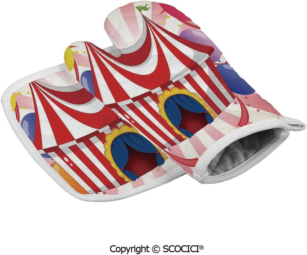 SCOCICI Durable Oven Glove Cartoon of Circus Tent with Colorful Balloons Striped Heat Resistant Kitchen Insulated Glove + Insulated Square Mat Insulated Glove Combination