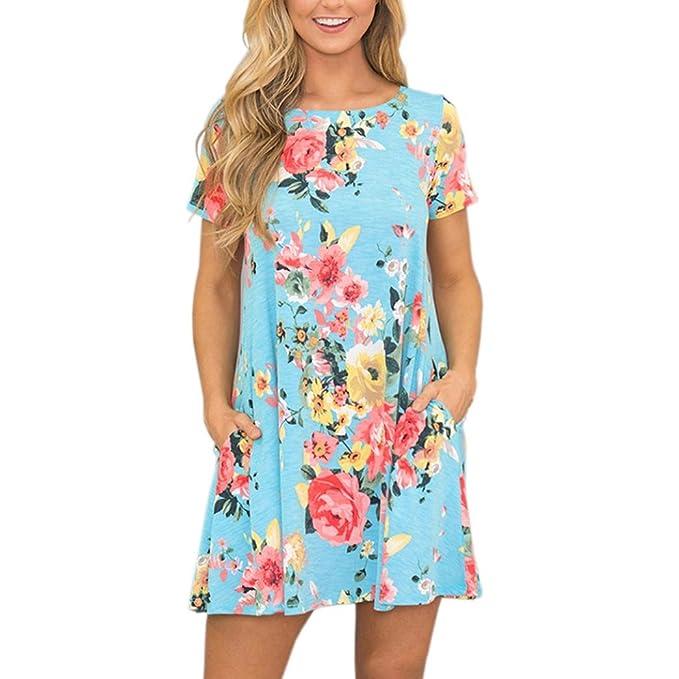 d137b1d39344 CLOOM Damen Sommerkleider Casual Shirt Dress Loose Minidress Minikleid  Brief Abendkleider Oversized Blusekleid Shirtkleid Kurzarm Elegant Damen  Kleider ...