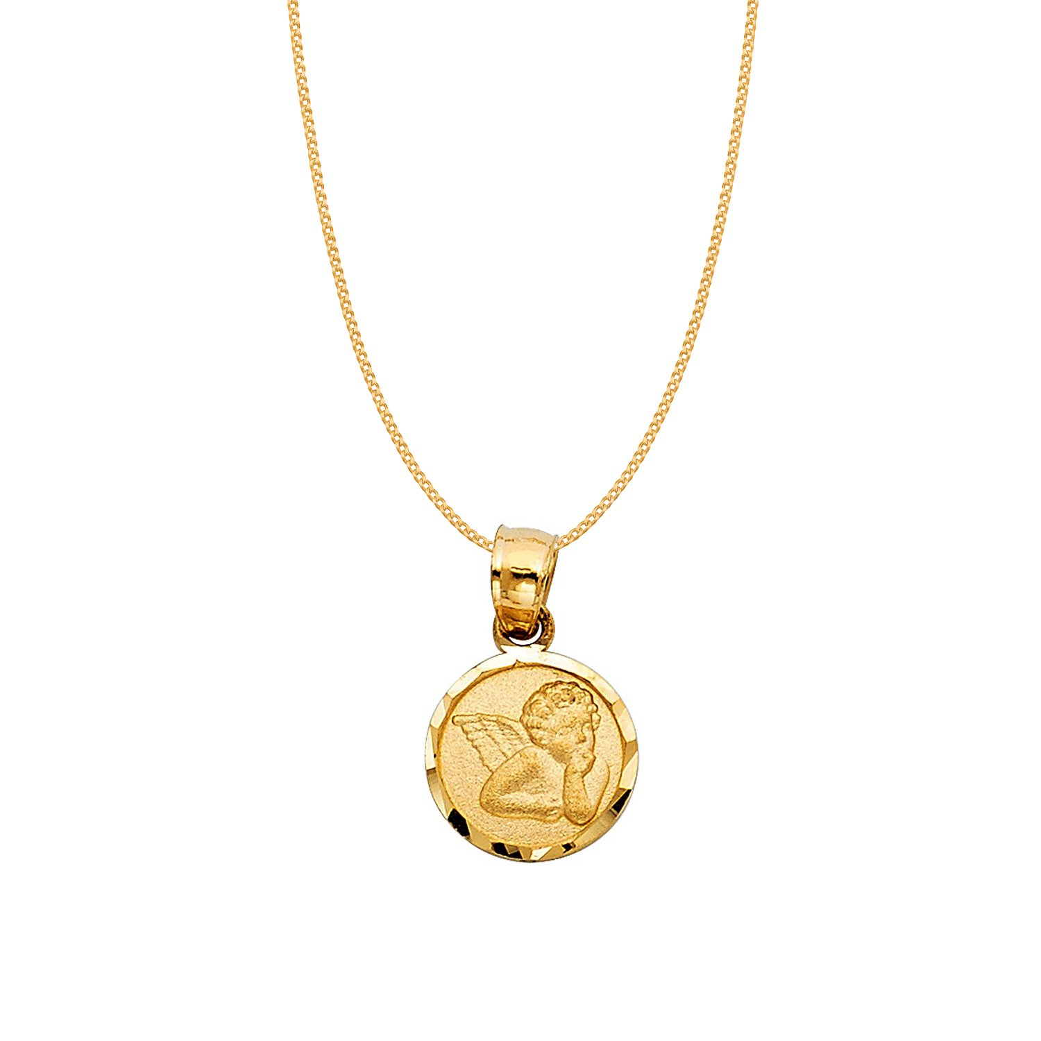 14k Yellow Gold Cherubic Guardian Angel Pendant with 0.8-mm Yellow Gold Square Wheat Chain