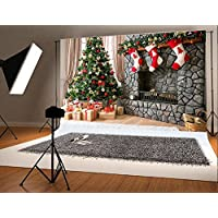 7x5 ft Christmas Photography Backdrop for Children Christmas Tree and Three Gift Socks Hang Fireplace Photo Background