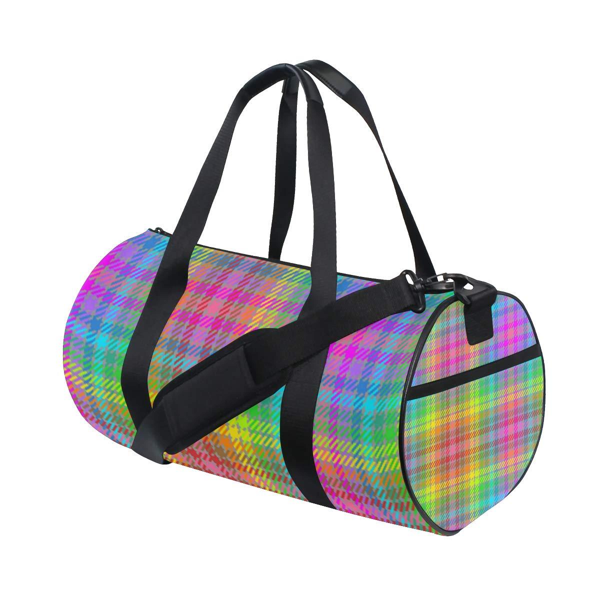 Sports Gym Duffel Barrel Bag Rainbow Crayons Tartan Travel Luggage Handbag for Men Women