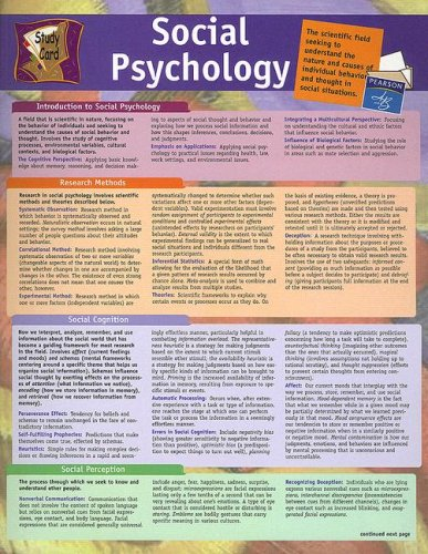 Social Psychology Study Card