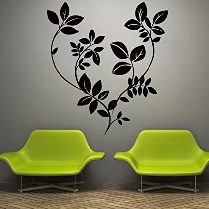 Decor kafe home decor black leaves wall sticker wall sticker for bedroom wall art