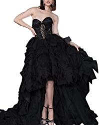 Kimbridal Black High Low Prom Dresses Ruffles Evening Prom Gown with  Feathers 59232b0f6
