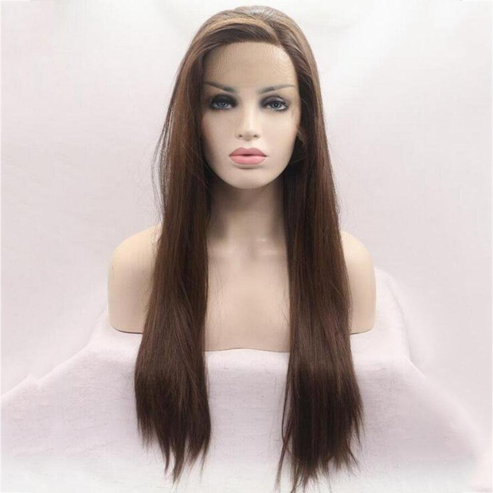 XUAN Dark Brown Long Straight Fashion Women's Beautiful Hair Party Full Wig (Dark Brown)