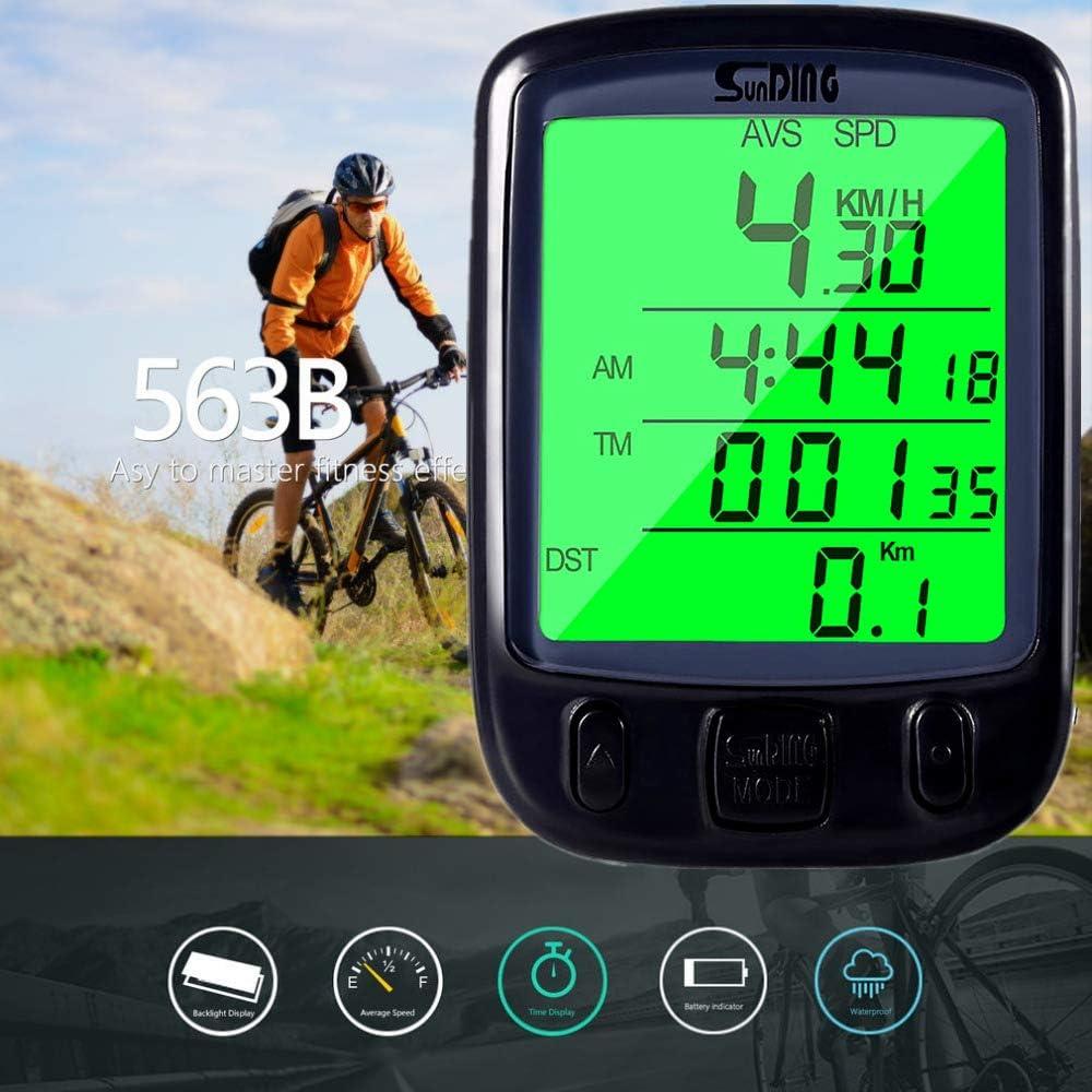 Ordinateur de Vélo Vélo Compteur de Vitesse pour Vélo Odomètre sans Fil SD-563B
