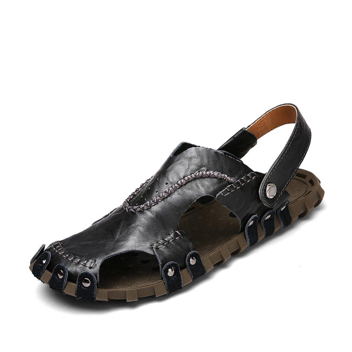 LXXAMens Verano Playa Hombre Zapatilla Cuero Real Chanclas Sandalias Zapatos Ortopédicos,Black-44EU 44EU|Black