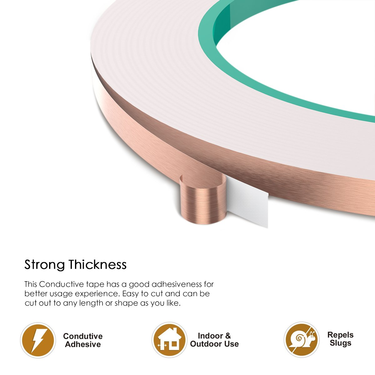 YoungRich 4 Pack Copper Foil Tape Conductive Adhesive for Electrical Repairs EMI Shielding Paper Circuits Craft Projects Pest Repelling Slug Snail 5mm25m by YoungRich (Image #2)