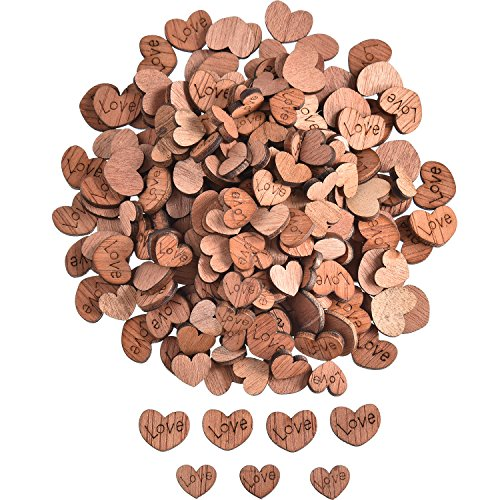 TecUnite 400 Pieces Wooden Love Hearts Natural Ornaments Crafts Decor Rustic Wooden Pattern Love Heart Wedding Table Decoration Crafts