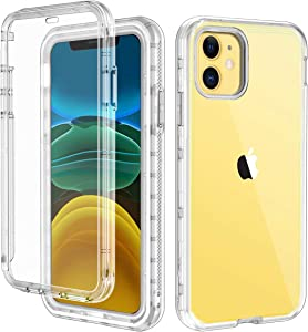 LONTECT Compatible iPhone 11 Case Built-in Screen Protector Crystal Clear Heavy Duty Shockproof Hybrid PC+Soft TPU Full Body Protective Case Cover for Apple iPhone 11 6.1 2019, Transparent